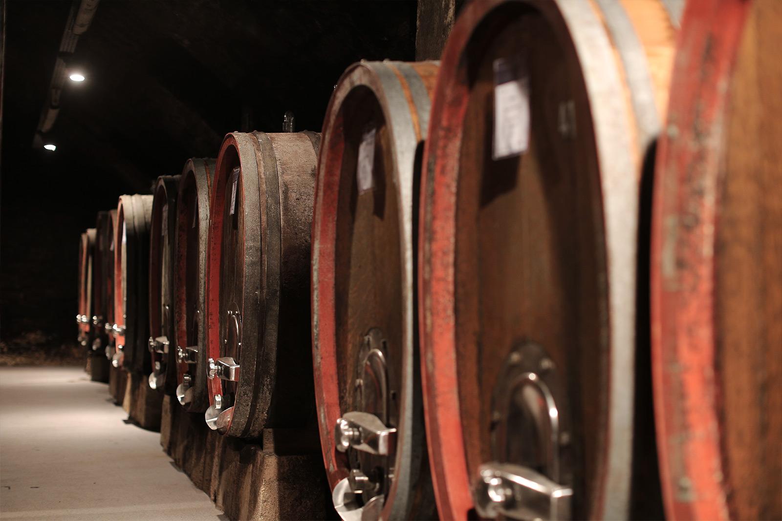 Alte Eichenfässer im Weingut Dr. Baumann